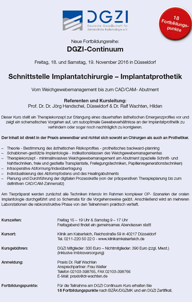 "DGZI-Continuum ""Schnittstelle Implantatchirurgie – Implantatprothetik"""